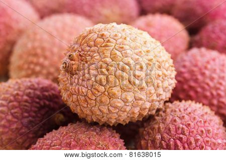 Detail of lots of litchis