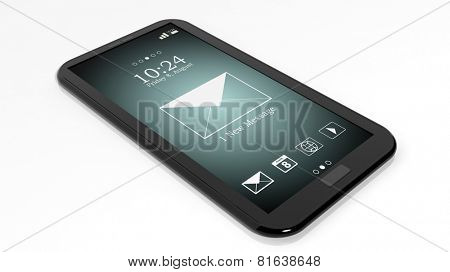 Smartphone with 1 new message notification on screen isolated on white