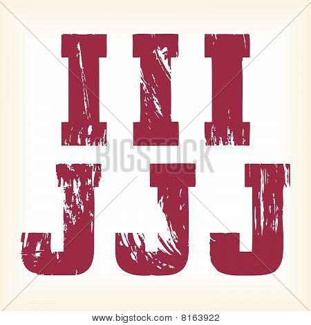 Grunge vector I & J letters