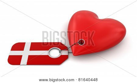 Heart with Danish flag (clipping path included)