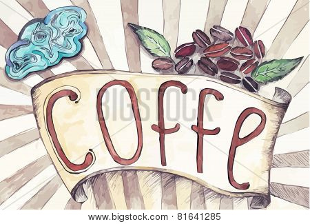 retro ribbon with the inscription of coffee
