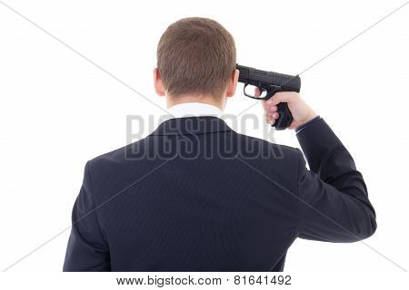Back View Of Business Man With Gun Trying To Make Suicide Isolated On White