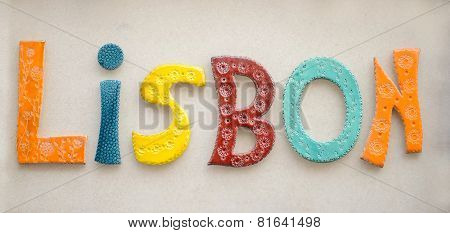 Colorful ceramic word Lisbon