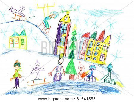 Children Drawing.children Playing In The Winter.