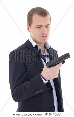 Suicide Concept - Stressed Man In Business Suit Holding Gun Isolated On White