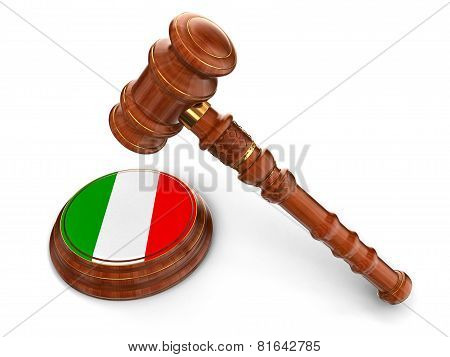 Wooden Mallet and Italian flag (clipping path included)