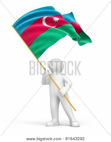 Man and Azerbaijan flag (clipping path included)