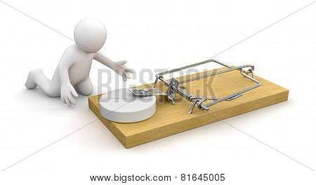 Man and Mousetrap with Tablet (clipping path included)