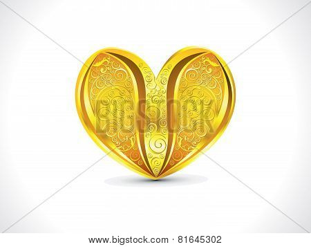 Abstract Artistic Golden Floral Heart Background