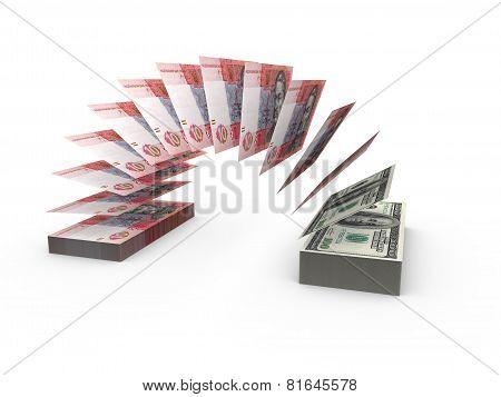 Flying banknotes of ukrainian money