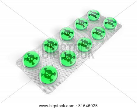 Green poison pills in blister isolated on white