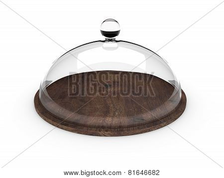 Wooden tray with glass cover