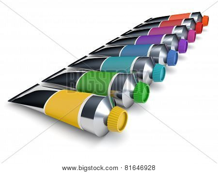 Colorful tubes of a paint isolated on white