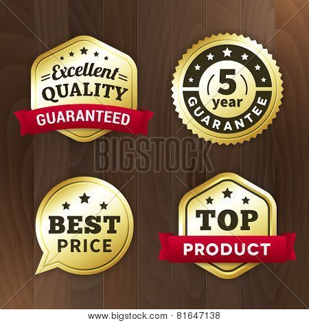 Set Business Gold Premium Label On Wood Vector Background
