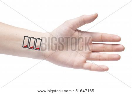 To Wear Yourself Out. Human Exhaustion Lead To Depression. Icons Of Empty Battery On The Wrist.