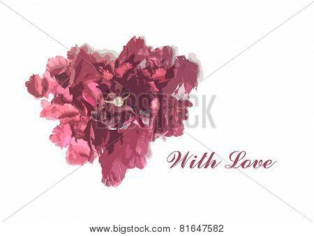 Heart Shape Of Flower Sachet And Diamond Ring For Valentine Card