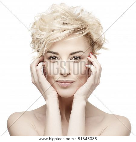 portrait of a beautiful woman with clean skin