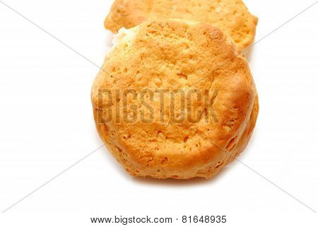 Close Up Of A Baked Biscuit Over White