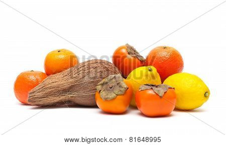 Fresh Fruits And Coconut Isolated On White Background