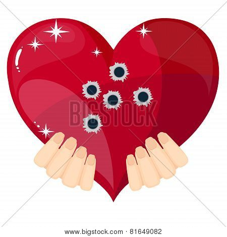 Heart with bullet holes, vector illustration.