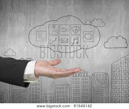Male Hand Showing Cloud With App Icons Doodles