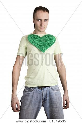 young man holding a heart on his chest???