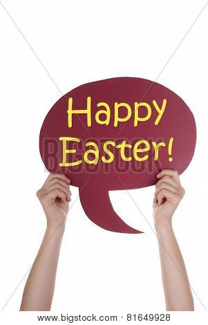 Red Speech Balloon With Happy Easter