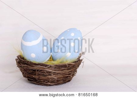 Nest With Two Easter Eggs And Copy Space