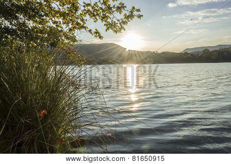 Sunset Over A Lake, Banyoles, Gerona, Spain