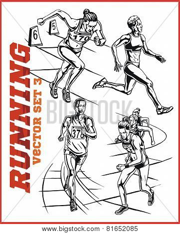running people collection - vector