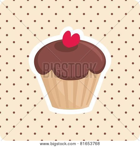 Vector cupcake with brown polka dots on pink background