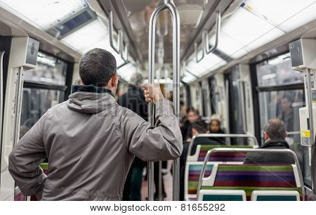Passengers Inside Metro Subway Train