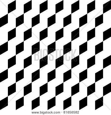 Black And White Geometric Seamless Pattern With Trapezoid, Abstract Background.