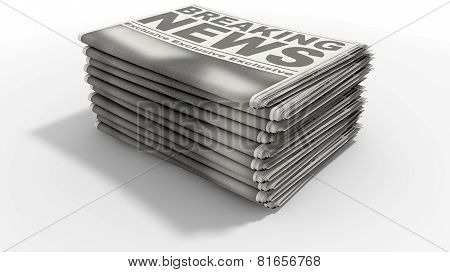 Newspaper Stack Breaking News