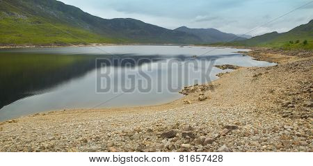 Scottish Landscape With Loch And Mountains