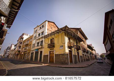 Beautiful colonial streets in downtown Cuenca Ecuador