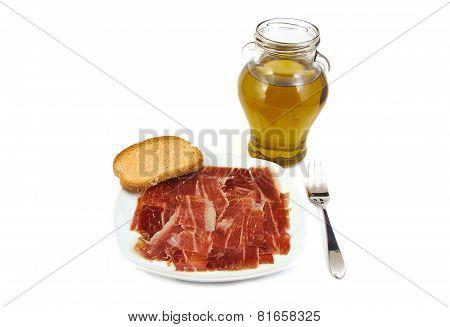Serrano ham, bread and extra virgin olive oil. Jabugo. Mediterranean diet.