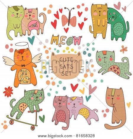 Cute Cats Set In Cartoon Style. Childish Vector Illustration