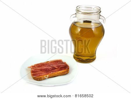 Serrano ham and extra virgin olive oil. Jabugo. Mediterranean diet.