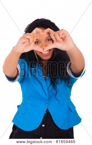 Beautiful Young Woman Making A Heart With Hands