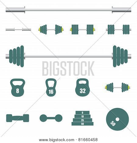 Icons Sports Equipment, Vector Illustration.