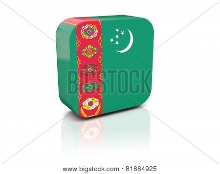 Square Icon With Flag Of Turkmenistan