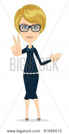 Successful young woman showing peace fingers, vector illustration