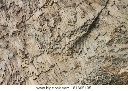 Ribbed Texture Of Volcanic Rocks On The Cliff Of Cape Fiolent