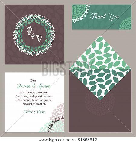 Vector Design Template Of Wedding Invitation With Envelope