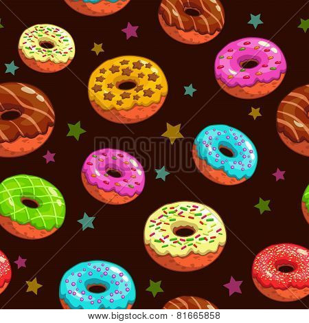 Seamless pattern with donuts