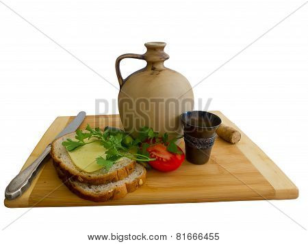 Jug, Bread, Cheese And Old Metal Wine Cup