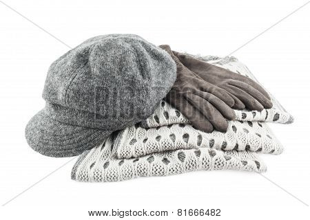 Woolen Scarf, Cap And Gloves Isolated On White Background
