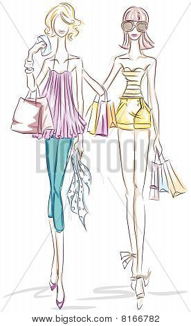 Women Shopping Sketch