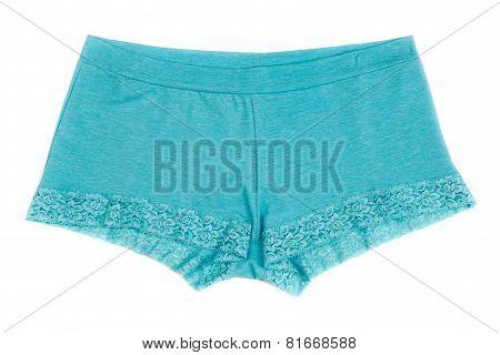 Blue Women's Panties On White Isolate.